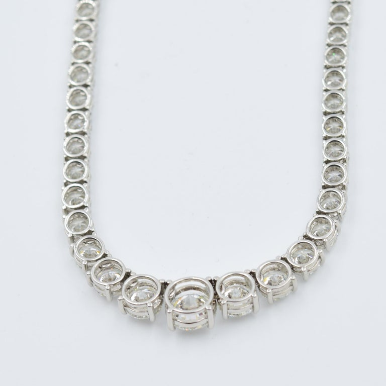34 Carat Diamond Riviera Necklace in Platinum with GIA Certified Excellent Cuts For Sale 2