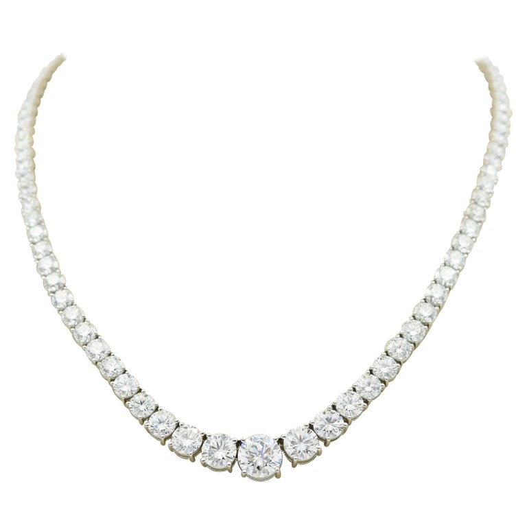 34 Carat Diamond Riviera Necklace in Platinum with GIA Certified Excellent Cuts For Sale