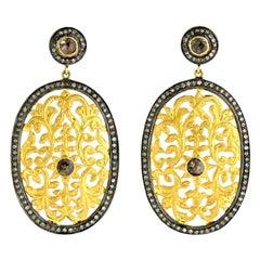 3.4 Carat Fancy Diamond Filigree Two-Tone Diamond Earrings