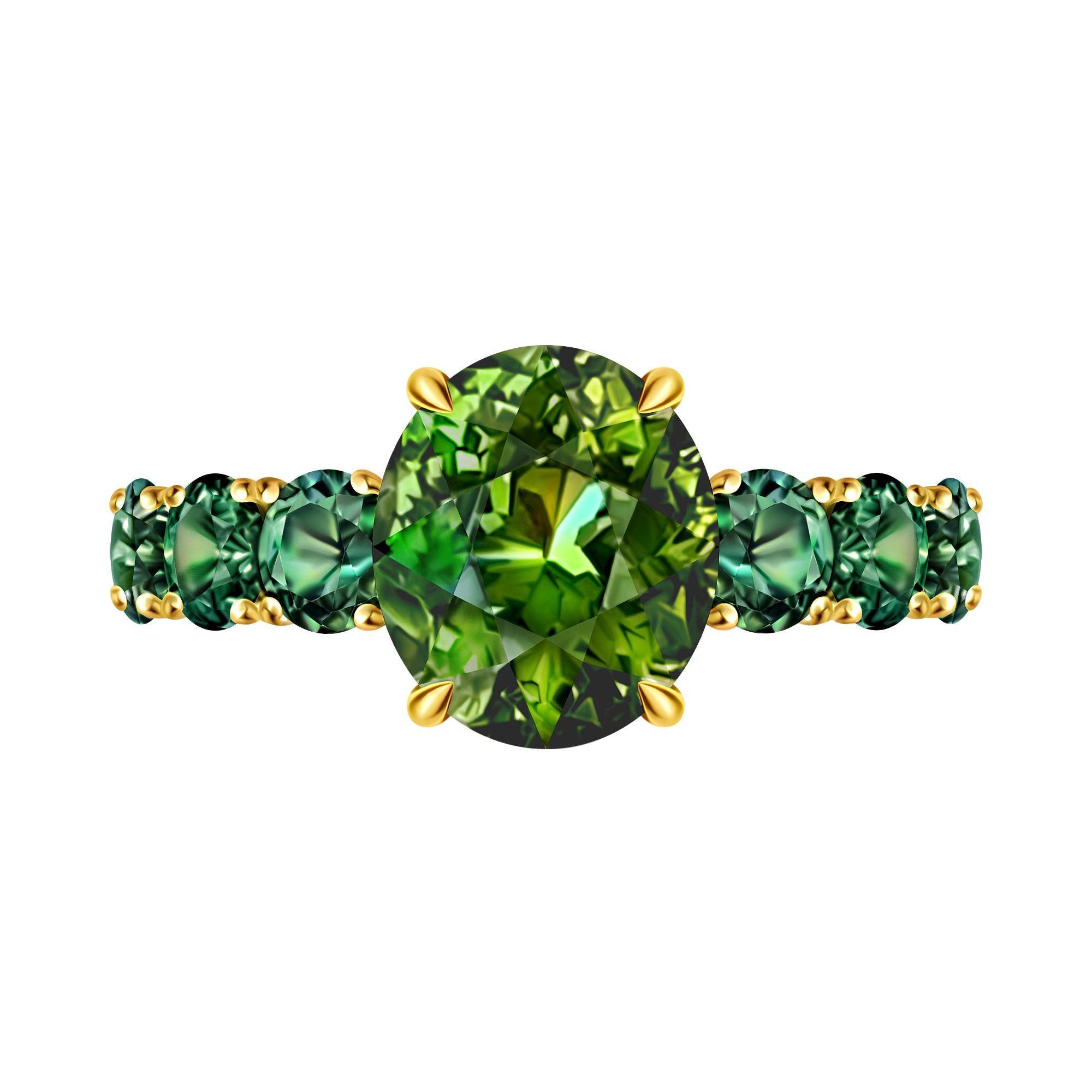 3,4 Carat Green Tourmaline Marriage Sapphire 18 Karat Gold Infinity Ring