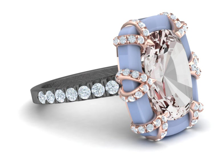 Cushion Cut 3.4 Carat Morganite Rose Gold Diamond Ring For Sale