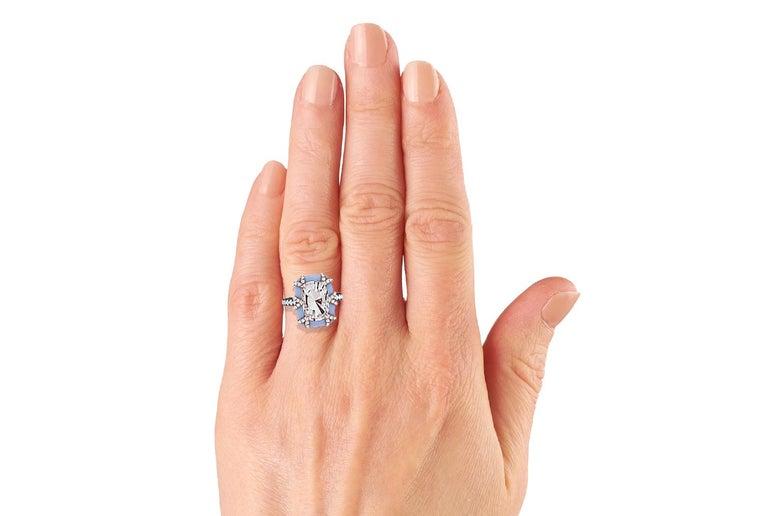 3.4 Carat Morganite Rose Gold Diamond Ring In Excellent Condition For Sale In Aliso Viejo, CA