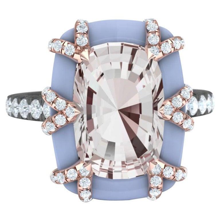3.4 Carat Morganite Rose Gold Diamond Ring For Sale