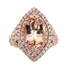 3.4 ct Oval Cut Morganite and diamond accent Engagement ring in 14k Rose Gold
