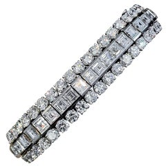 34 Carat Retro Diamond Platinum Bracelet