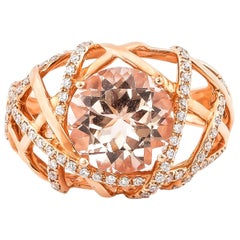 3.4 Carat Round Shaped Morganite Ring in 18 Karat Rose Gold with Diamonds