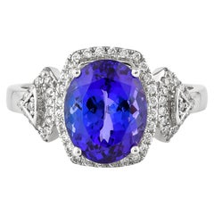 3.4 Carat Tanzanite and White Diamond Ring in 18 Karat White Gold