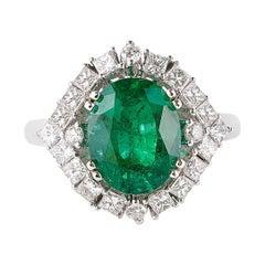 3.4 Carat Zambian Emerald and Diamond Ring in 18 Karat White Gold