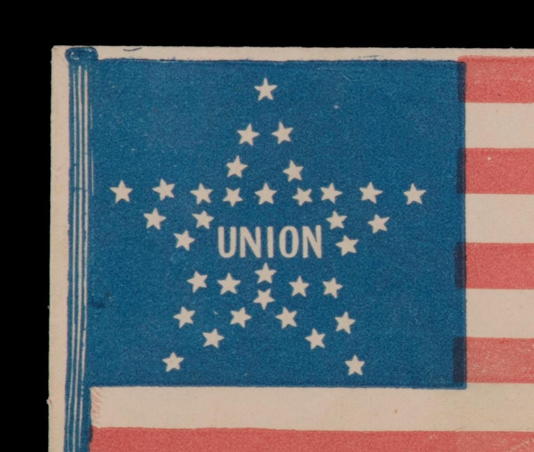 34 STAR AMERICAN FLAG COVER WITH A GREAT STAR PATTERN SURROUNDING THE WORD