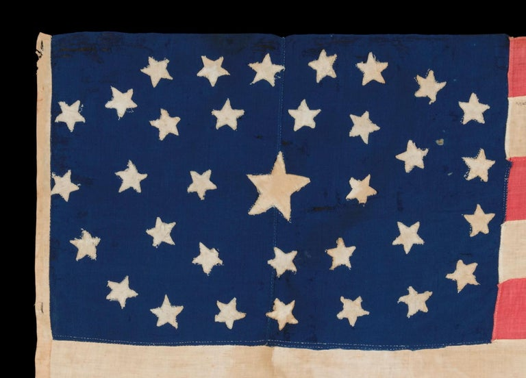 American 34 Stars in an Outstanding Oval Medallion Configuration, Civil War Period For Sale