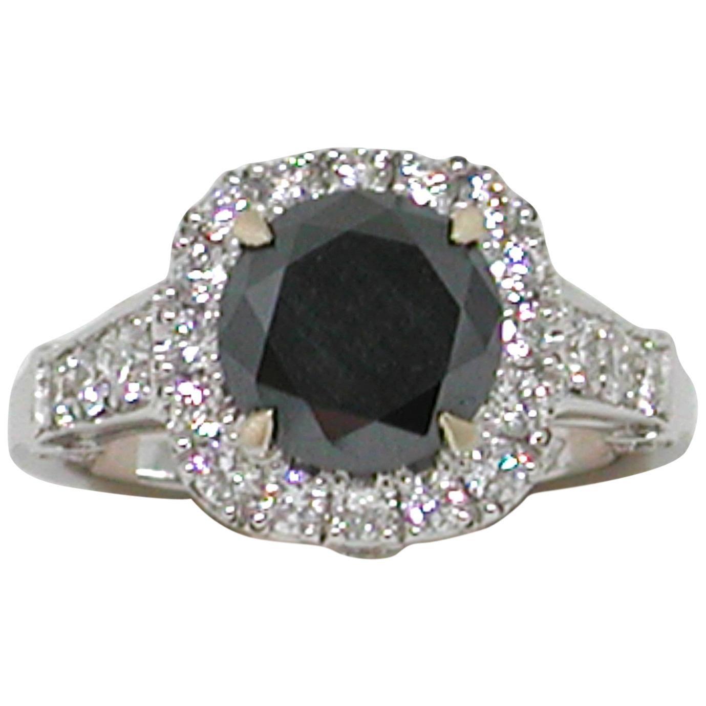 3.40 Carat 18 Karat White Gold Black Diamond Engagement Ring