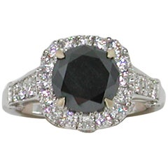 3.40 Carat 18 Karat White Gold Black Diamond Engagement Ring