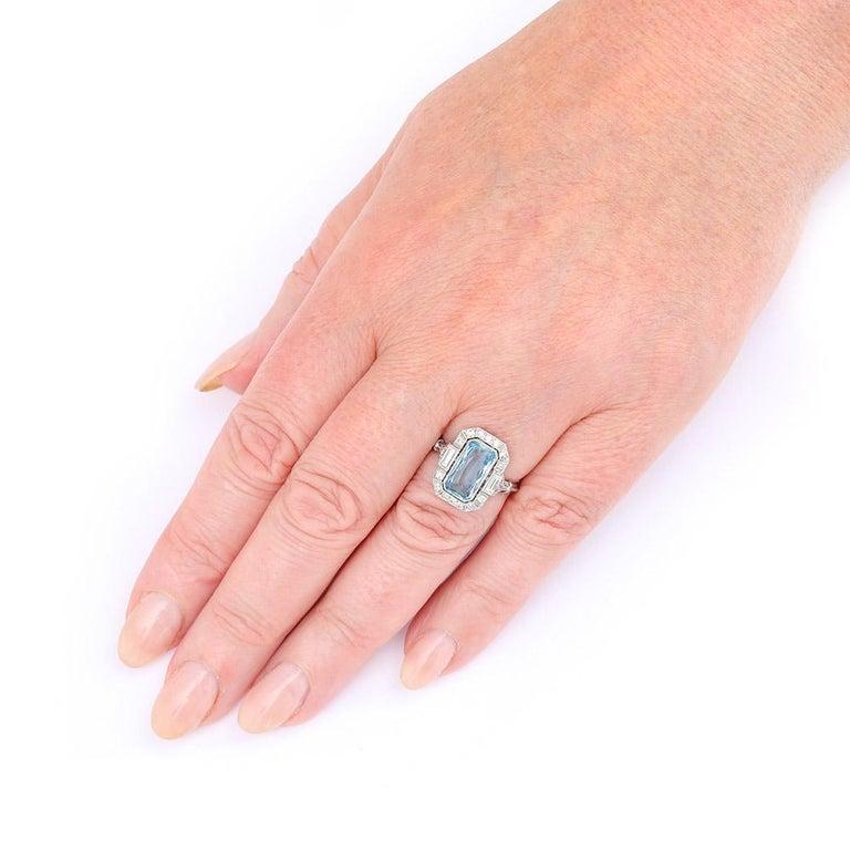 Art Deco 3.40 Carat Aquamarine and Diamond Platinum Dress Cocktail Ring, 1920s 6