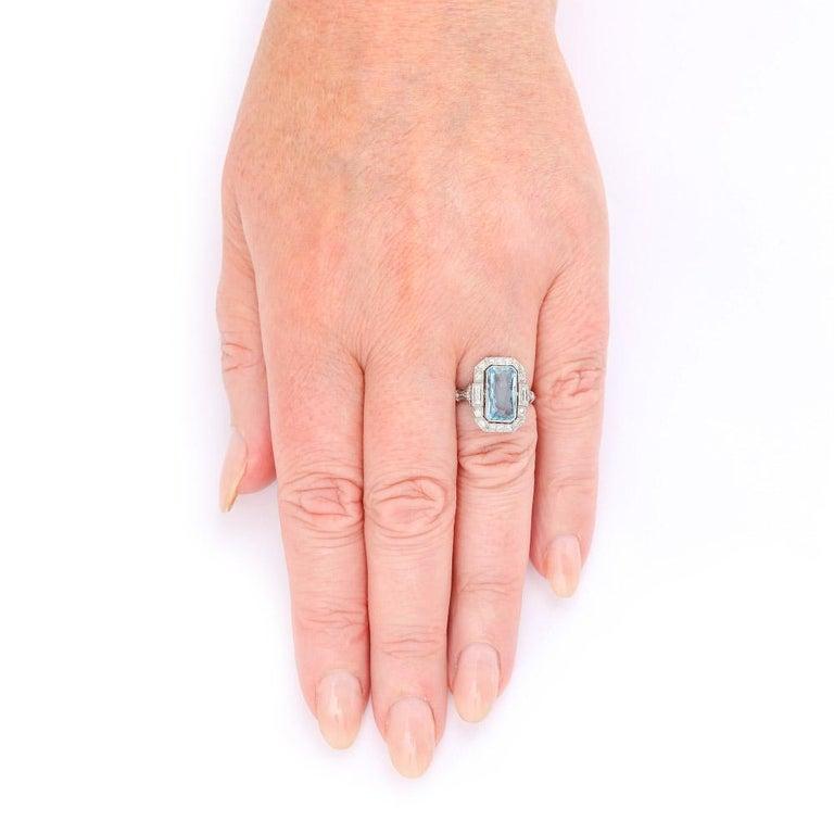 Art Deco 3.40 Carat Aquamarine and Diamond Platinum Dress Cocktail Ring, 1920s 7
