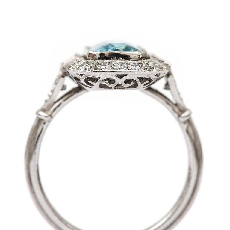 Art Deco 3.40 Carat Aquamarine and Diamond Platinum Dress Cocktail Ring, 1920s In Good Condition In Lancashire, Lancashire