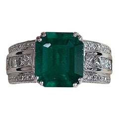 3.40 Carat Colombian Emerald and Diamond Ring
