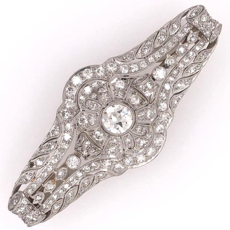 Women's 3.40 Carat Diamond Art Deco Platinum Filigree Brooch Pin Estate Fine Jewelry For Sale