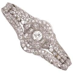 3.40 Carat Diamond Art Deco Platinum Filigree Brooch Pin Estate Fine Jewelry