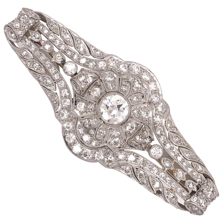 3.40 Carat Diamond Art Deco Platinum Filigree Brooch Pin Estate Fine Jewelry For Sale