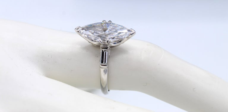 Marquise Cut 3.40 Carat Golconda D Internally Flawless Marquis Diamond Ring For Sale