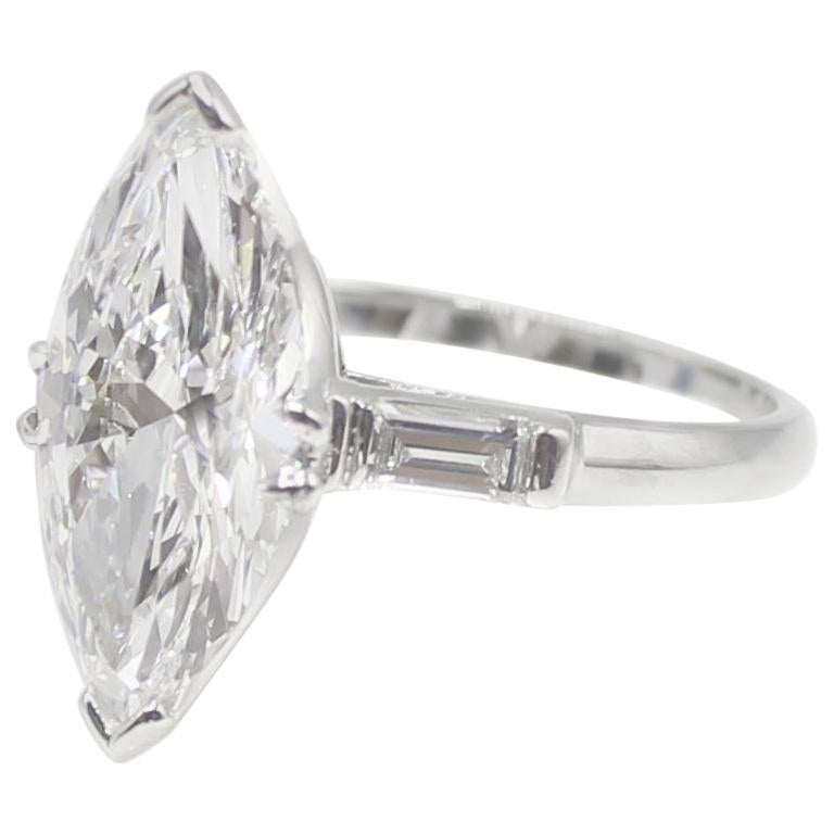 3.40 Carat Golconda D Internally Flawless Marquis Diamond Ring In Excellent Condition For Sale In New York, NY