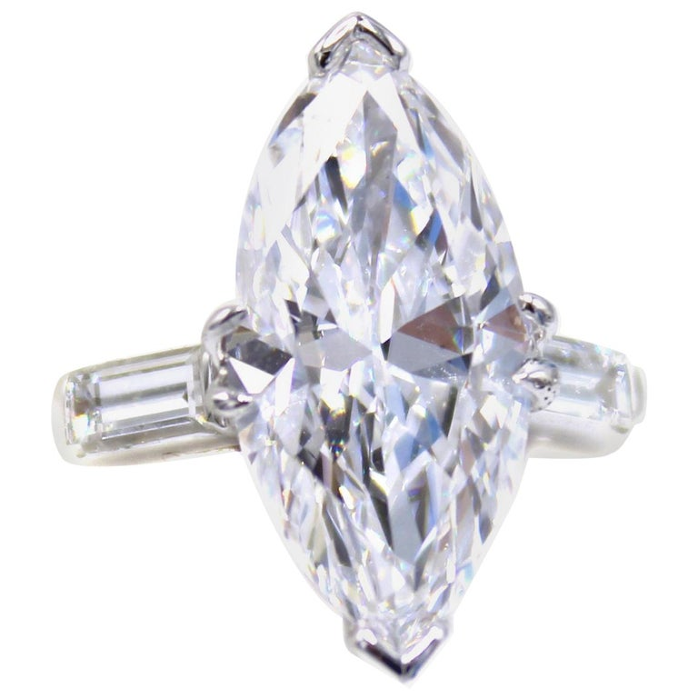3.40 Carat Golconda D Internally Flawless Marquis Diamond Ring For Sale