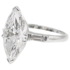 3.40 Carat Golconda D Internally Flawless Marquis Diamond Ring