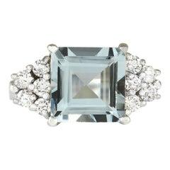 3.40 Carat Natural Aquamarine 18 Karat White Gold Diamond Ring