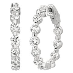 3.40 Carat Natural Diamond Hoop Earrings G SI 14 Karat White Gold 15 Points Each