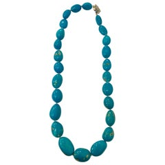 340 Carat Natural Sleeping Beauty Turquoise Necklace Single-Strand 14 Karat Gold