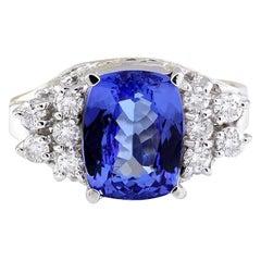 3.40 Carat Natural Tanzanite 18 Karat Solid White Gold Diamond Ring