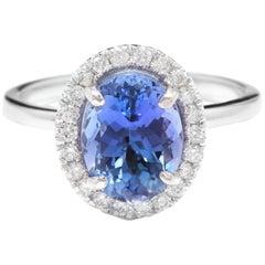 3.40 Carat Natural Tanzanite and Diamond 14 Karat Solid White Gold Ring