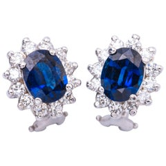 3.40 Carat Oval Sapphires Diamond Gold Earrings