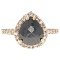 3.40 Carat Pear Cut Black Diamond 14 Karat Yellow Gold Engagement Ring