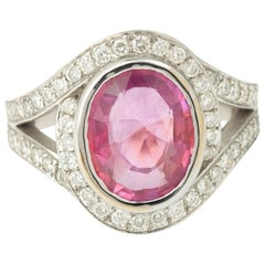 3.40 Carat Pink Sapphire and Diamonds 18 Karat White Gold Engagement Ring