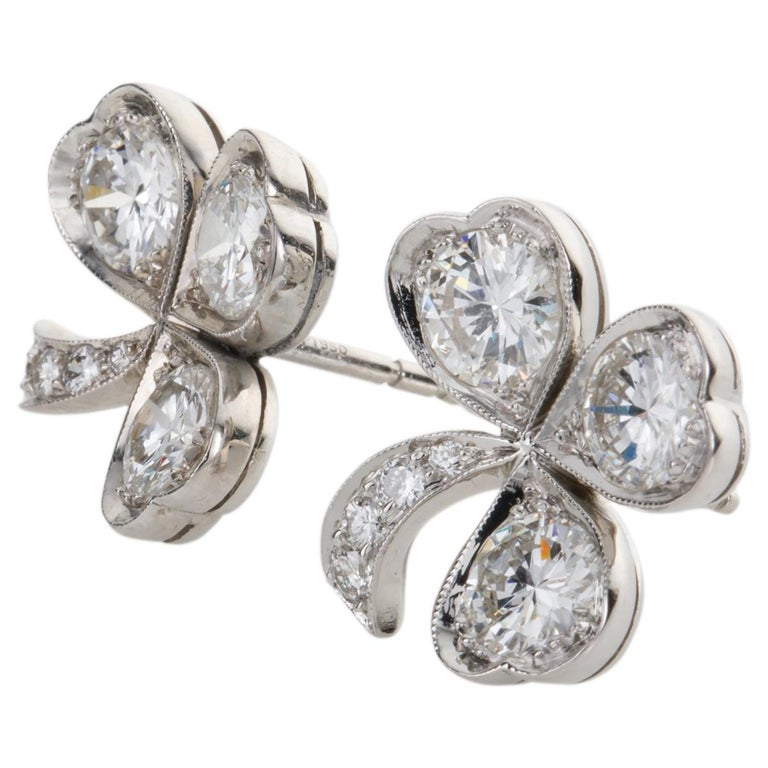 Exceptionally beautiful and so wearable. Add a touch of glamour to evening wear or just wear these everyday, set with a total of 3.40cts of bright white brilliant cut F colour, VS clarity diamonds - 0.50pts in each shamrock leaf - totalling 1.50cts