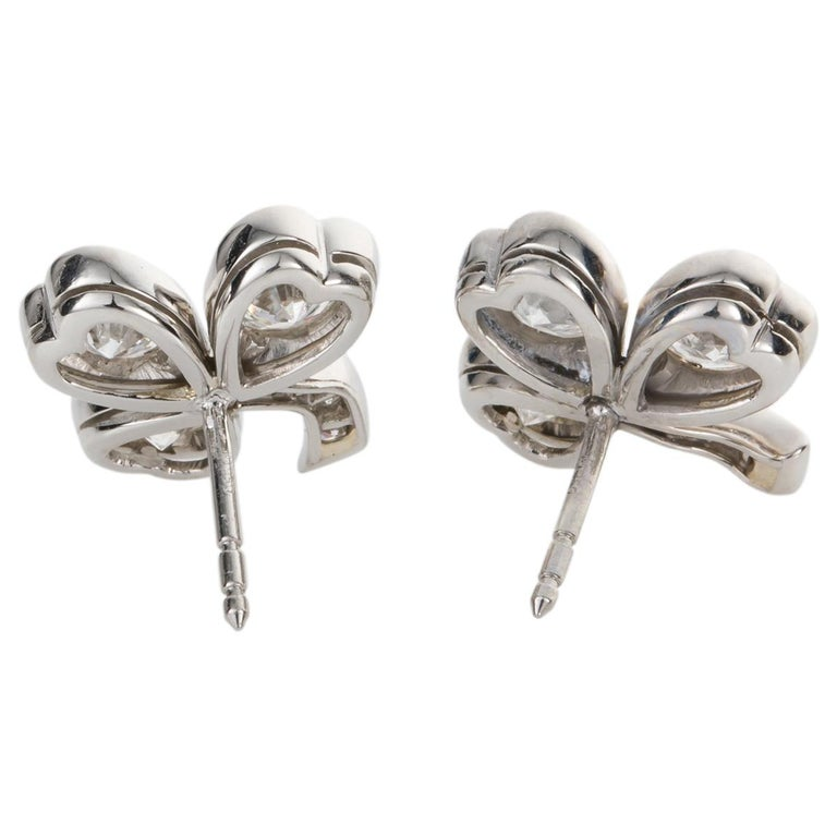 Contemporary 3.40 Carat Platinum and Diamond Shamrock Stud Earrings For Sale