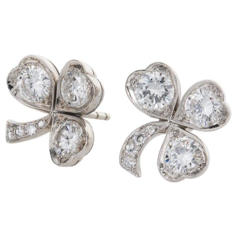 Round Cut 3.40 Carat Platinum and Diamond Shamrock Stud Earrings For Sale