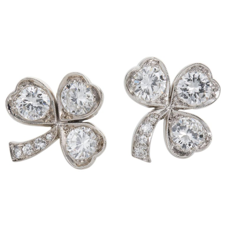 3.40 Carat Platinum and Diamond Shamrock Stud Earrings In New Condition For Sale In Brisbane, AU