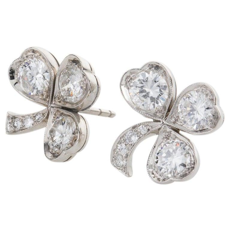 Women's 3.40 Carat Platinum and Diamond Shamrock Stud Earrings For Sale