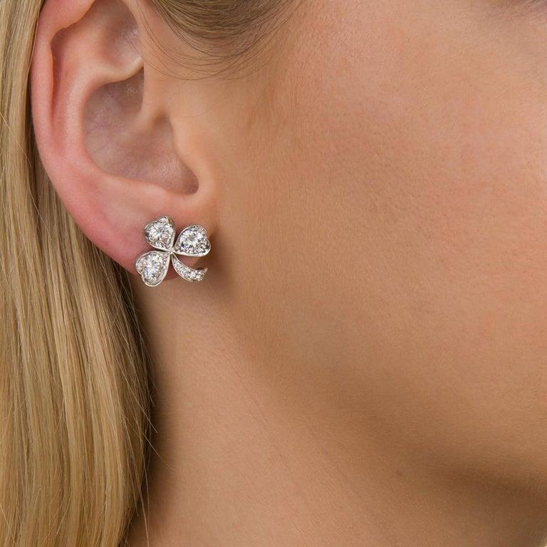 3.40 Carat Platinum and Diamond Shamrock Stud Earrings For Sale 1