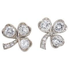 3.40 Carat Platinum and Diamond Shamrock Stud Earrings