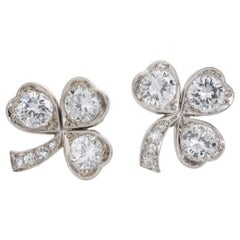 3.40 Carat Platinum and Diamond Shamrock Stud Earrings