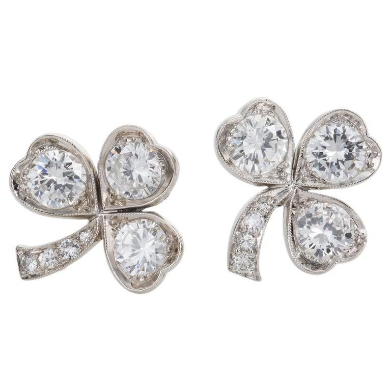 3.40 Carat Platinum and Diamond Shamrock Stud Earrings For Sale