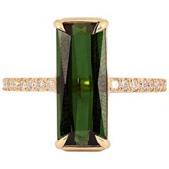 3.40 Carat Rectangle Green Tourmaline and Diamond Ring