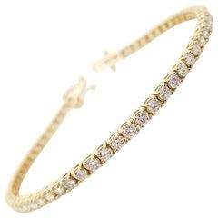 3.40 Carat Round Brilliant Cut Diamond Tennis Bracelet 14 Karat Yellow Gold