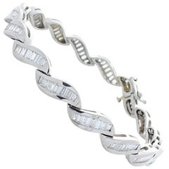 3.40 Carat Total Baguette Diamond Channel Set Bracelet in 14 Karat White Gold
