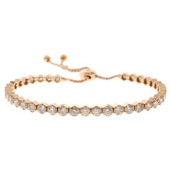 3.40 Carat Total Diamond Adjustable Bracelet in 18 Karat Rose Gold