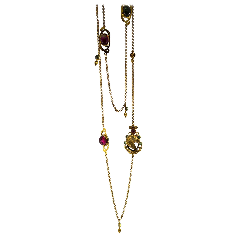 34.0 Carat Tourmaline Emerald 0.21 Carat Diamond Yellow Gold Drop Necklace
