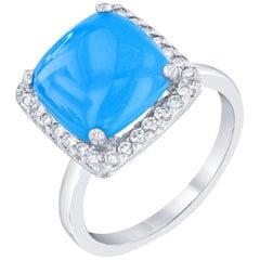 3.40 Carat Turquoise Diamond 14 Karat White Gold Cocktail Ring